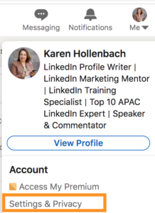 how to chane profile viewing options on linkedin