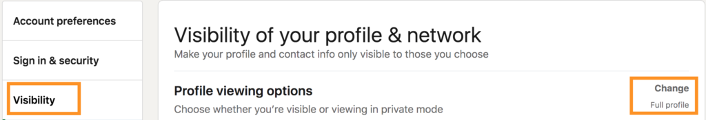 how to change profile viewing options