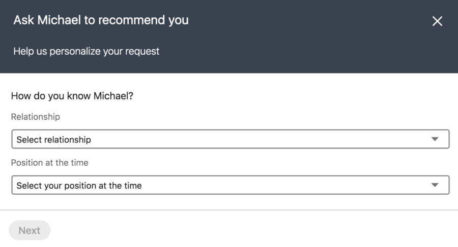how to request a recommendation on linkedin