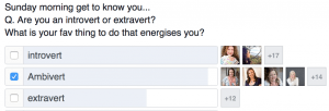 an introvert, extrovert and ambivert poll