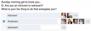an introvert, extrovert and ambivert poll