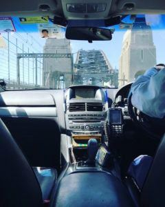 Taxi over the sydney harbour bridge
