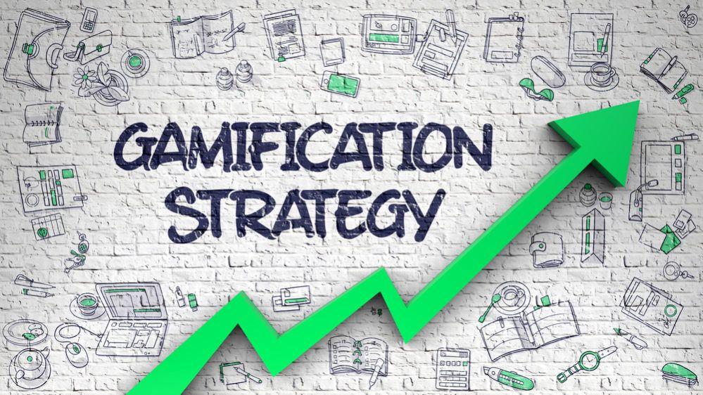 Gamification Strategy Drawn on White Brick Wall.