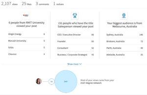 LinkedIn vanity measures profile and post views