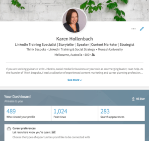 Linkedin career dashboard