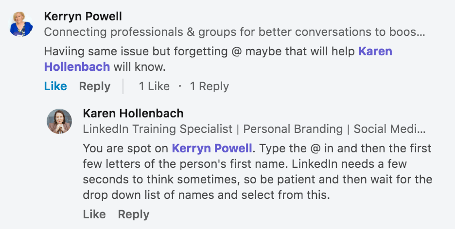 how to tag someone in a comment on LinkedIn