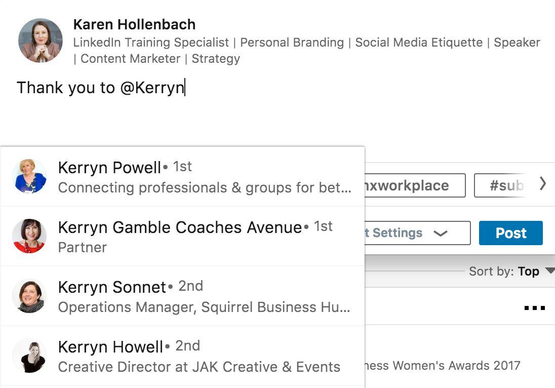 how to mention a connection or linkedin member in a linkedin post