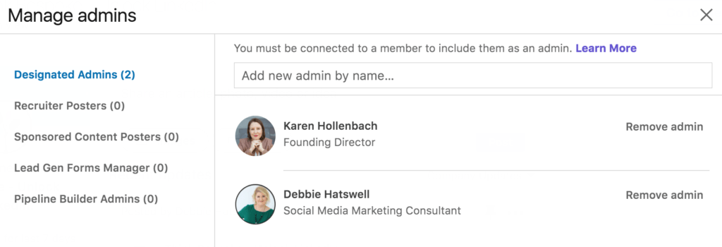 admin roles on a linkedin company page