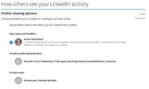 viewing other peoples profiles anonymously on linkedin