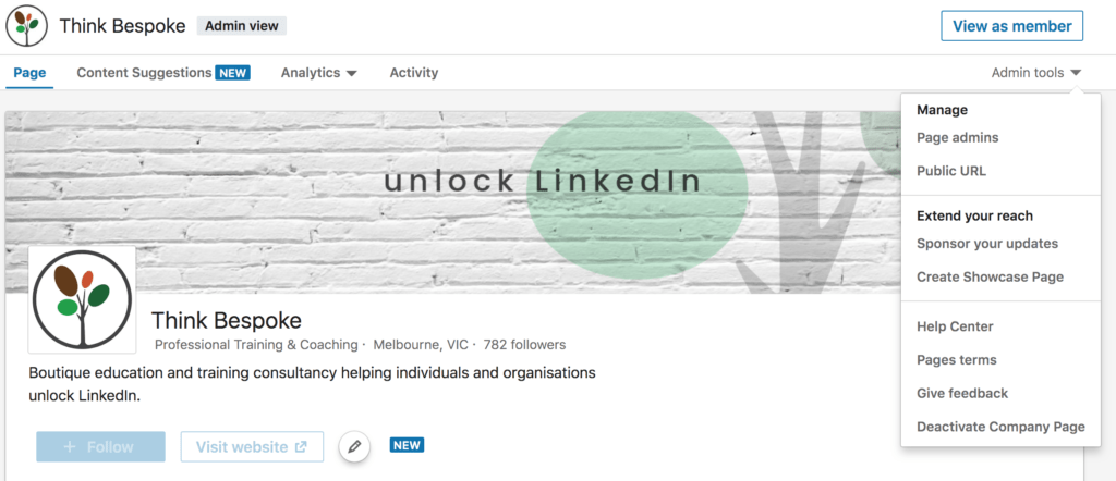 the anatomy of a linkedin company page