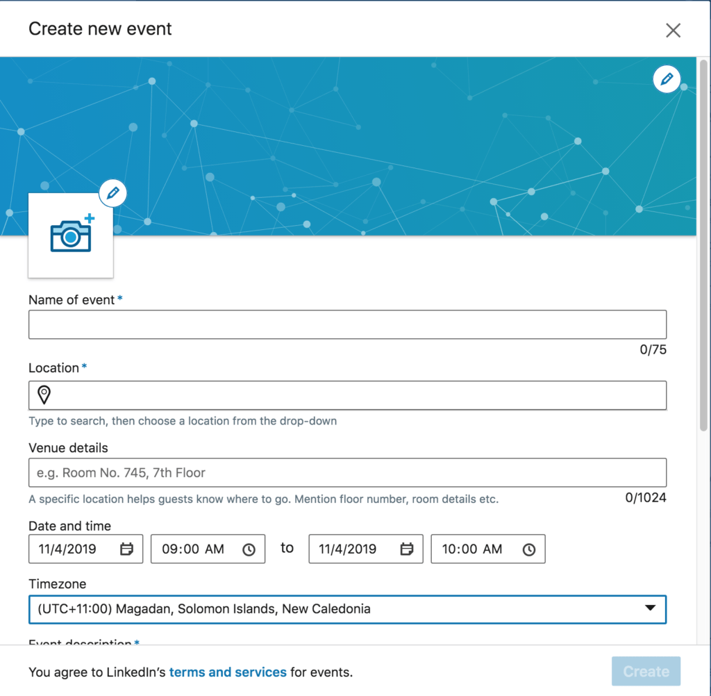 how to access the linkedin event feature