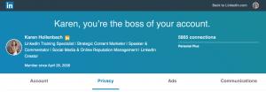 privacy settings on linkedin profile