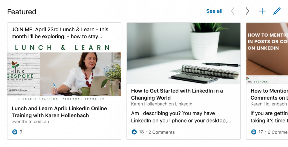 linkedin featured section of linkedin profile