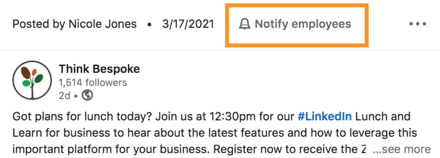 notify employees of linkedin company page updates