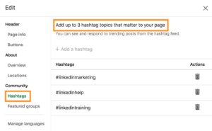 How to access community hashtags on LinkedIn company page