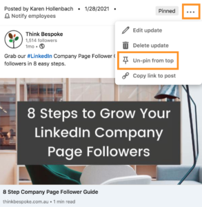 How to access the company page pinned post feature