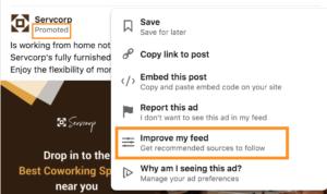 Improve linkedin newsfeed