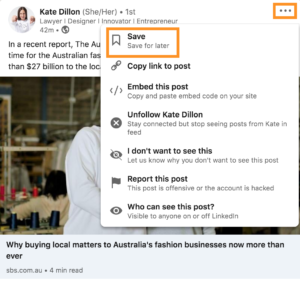How to save posts and articles on LinkedIn